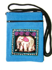 Hippy Bag~Ethnic Elephant Sequin Patch Passport Bag~Fair trade by Folio Gothic Hippy 9106